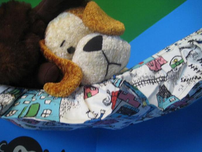 Busy Neighborhood Teddy Bed - Size Large with Ruffle