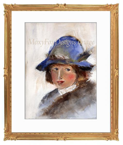 Art -- GIRL in a BLUE HAT, Portrait, Young girl, Winter, Woodlands, Hat hats,