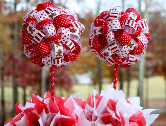 Stupendous 2 Christmas Gingerbread Themed Ribbon Topiary In Red White Download Free Architecture Designs Scobabritishbridgeorg