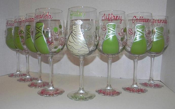 Custom Bridal Party Hand Pained on Set of 5 Wine by GlassArt on Zibbet