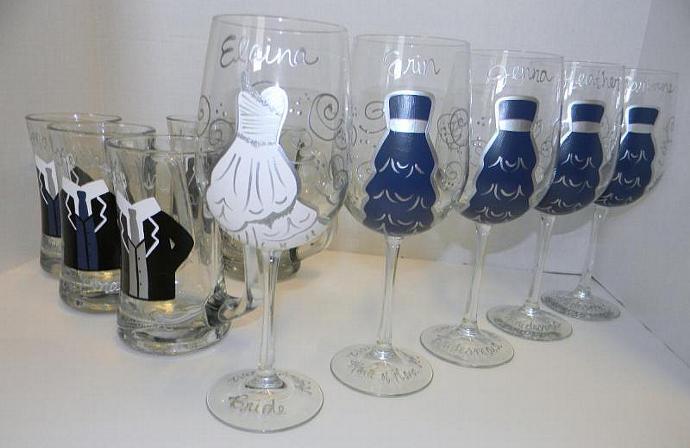 Bridal Party Wine Glasses and Groom / Groomsmen by GlassArt on Zibbet