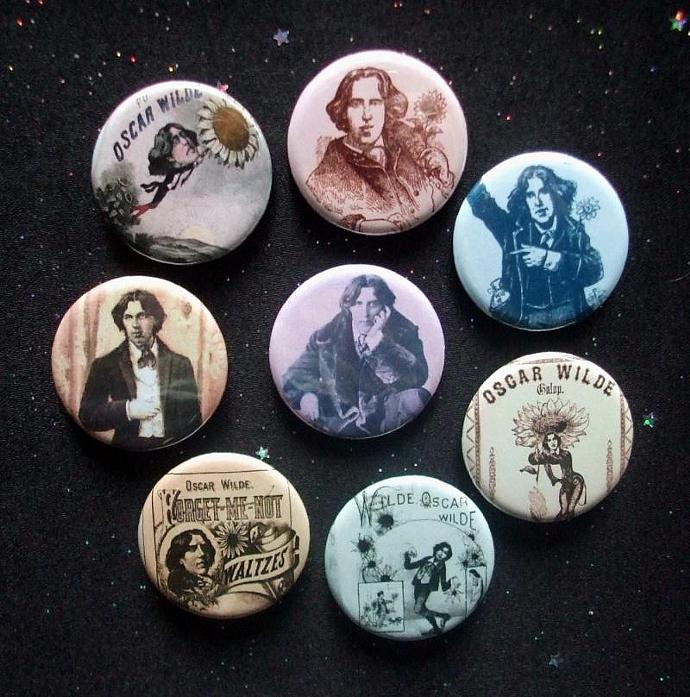 "Oscar Wilde Circa 1882 American Tour 1.25"" Magnets or Pinback Buttons Set of 8"