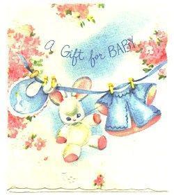 Vintage Baby Shower Gift Card Bunny Bib Clothesline Pink Blue 1950s