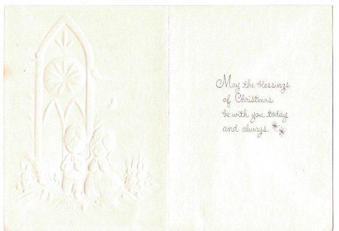 Vintage Christmas Card UNUSED 1970s Hallmark Greeting Card Embossed