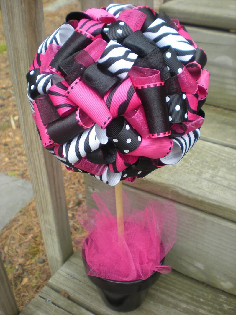 Ribbon Topiary For Zebra Hot Pink Black By Tangledribbon On Zibbet