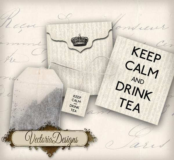 printable keep calm and drink tea bag by vectoriadesigns on zibbet