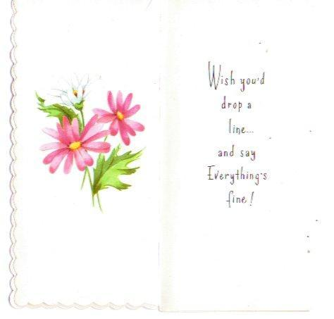 Vintage 1960s UNUSED Greeting Card Drop a Note Havent Heard from You