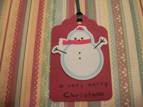 Dollar Days Christmas Sale/ Snowman Image Gift Hang Tags/3ct