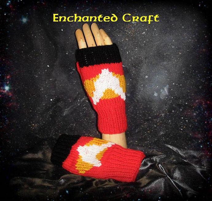 Hand Knitted STAR TREK Fingerless gloves REDshirt