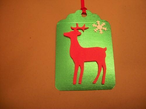 4ct Shimmer Green Foil Cardstock Reindeer gift tags