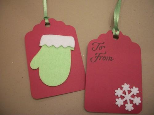Dollar Days Christmas Tags sale  / 3ct / Little Green Mittens/ Red gift tags