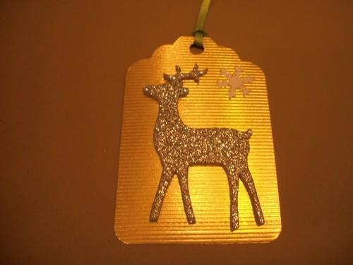 Gold Foil Reindeer gift hang tags / 4ct