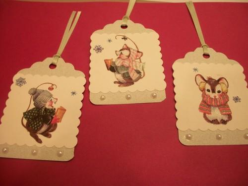 Dollar Days Christmas Tags Sale / Country Mouse Old time hang Tags /3ct