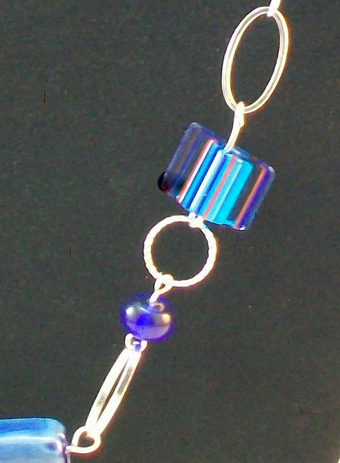 Blue Furnace Glass & Ceramic Beaded Necklace