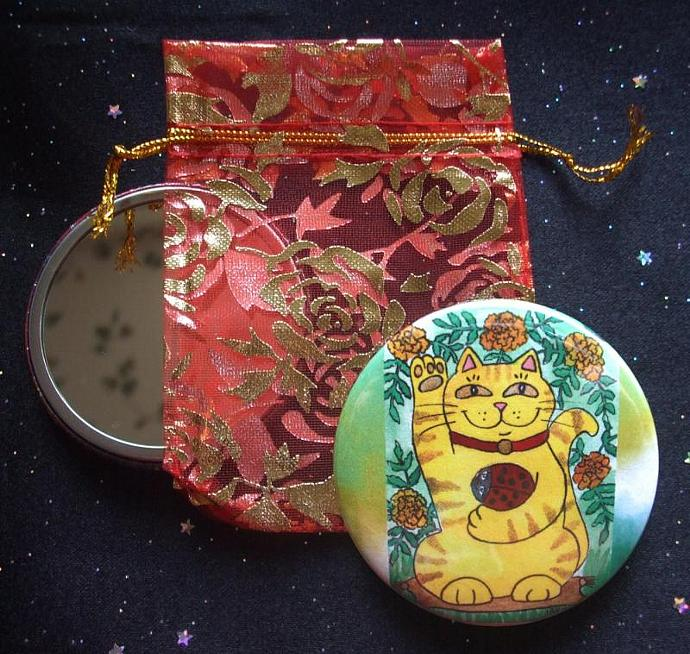 Marigolds Are Lucky Today Maneki Neko Cat with Red Ladybug Pocket Mirror &
