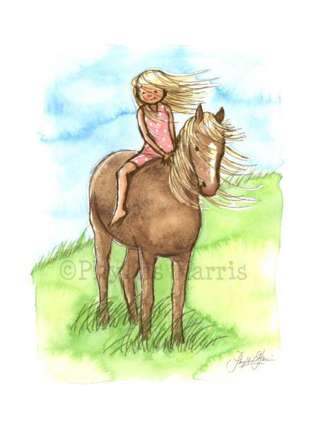 Children's Wall Art Print - Horse Girl - Customizable - Girl's room decor