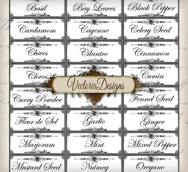 spice labels printable images digital collage sheet 079