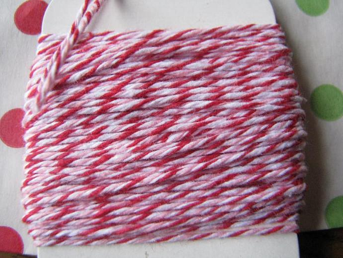 NEW- Solid Red- Solid Green and Peppermint Divine Baker's twine - Plus 3 Red and