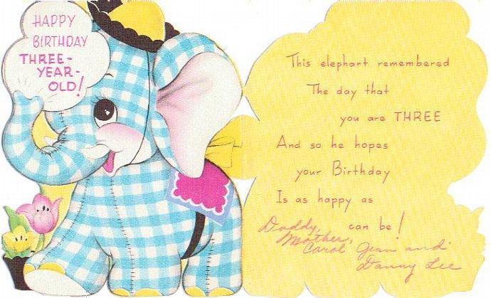 Vintage Birthday Card 1950s Childrens 3 Year Old Greeting Elephaphant