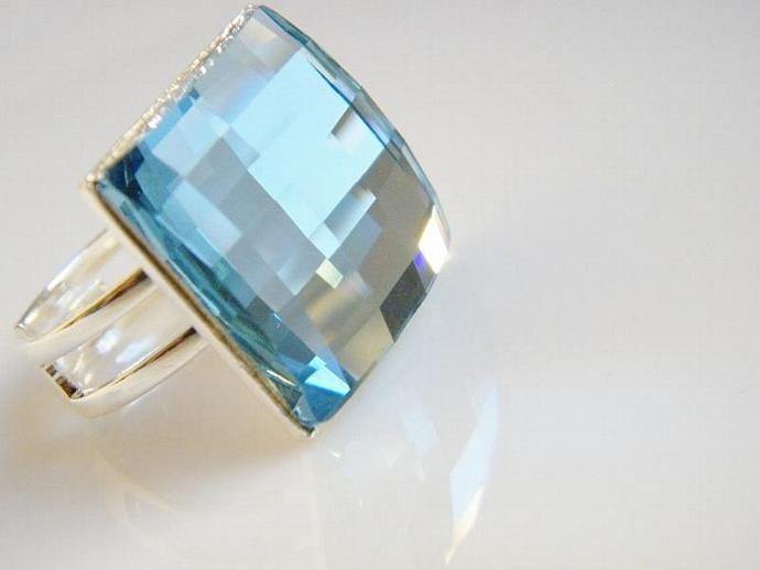 Aquamarine Blue Square Ring Swarovski Crystal Silver Plated