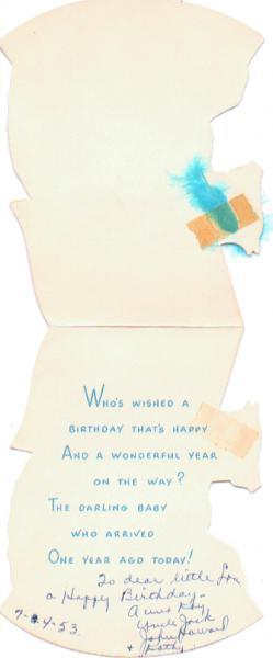 Vintage Birthday Card Childs First Birthday 1950s One Year Old Feather