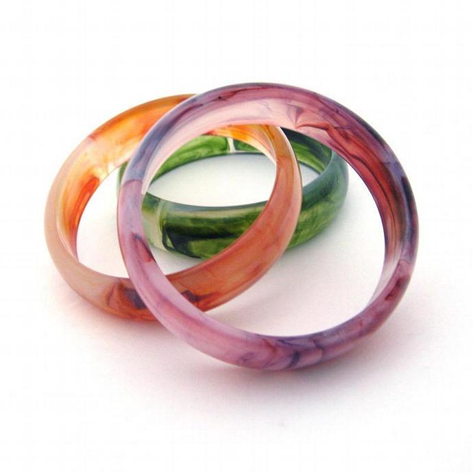 Bangle Bracelets Set of 3 Acrylic Marbled Swirl in Amethyst Purple, Topaz Gold,