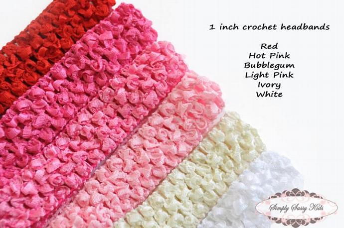 18 Assorted 1 inch Crochet Headbands Red Pink +