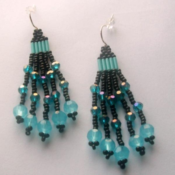Black and Blue Chandelier Beaded Earrings