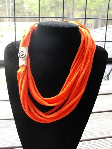 Bright Orange Tshirt Necklace Infinity Scarf