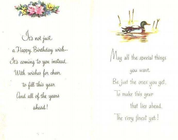 Vintage Birthday Greeting Cards 1960s Masculine Mens 2 Ducks Floral
