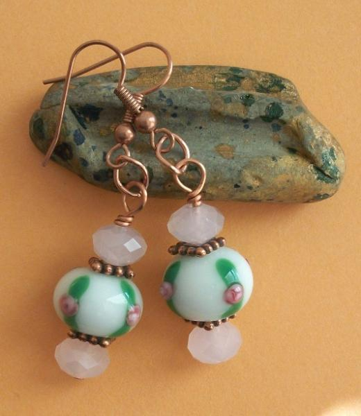 Handmade Copper and Lampwork Earrings in White, Pink and Green