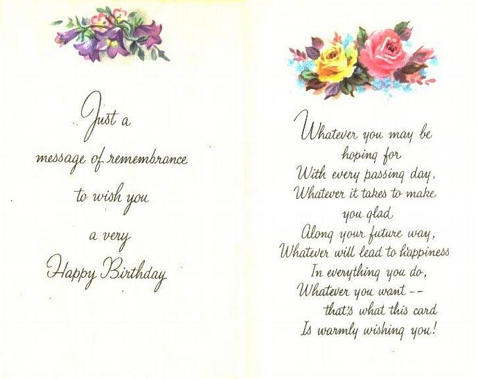 2 Birthday Greeting Cards Roses Floral Vintage 1960s Unused