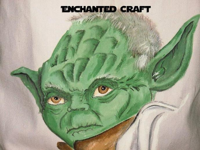 hand painted STAR WARS YODA tote, bag, or shopping bag- get your name on it