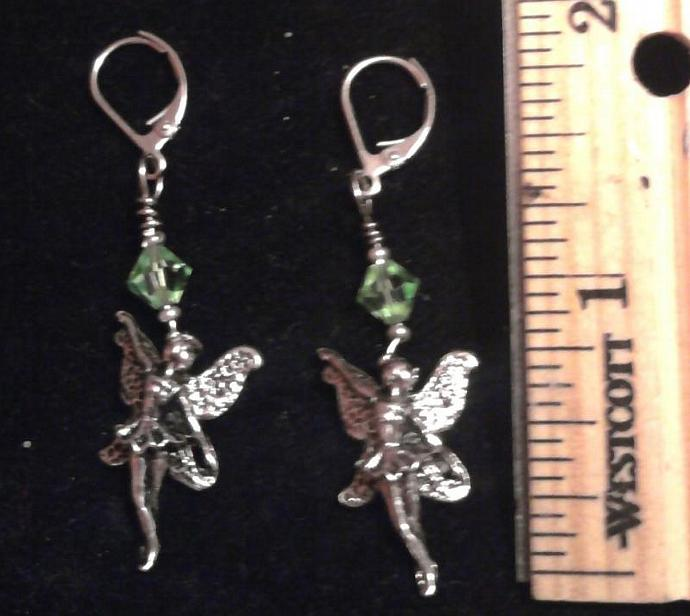 Swarovski crystal by birth month w/pewter fairy charm earrings