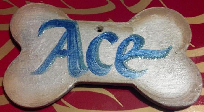 Custom name dog bone painted ornament