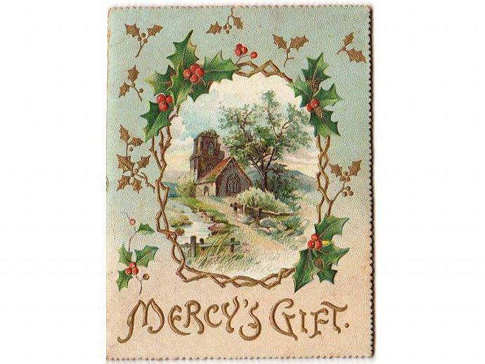 Antique Victorian Greeting Card Mercys Gift Poem Booklet
