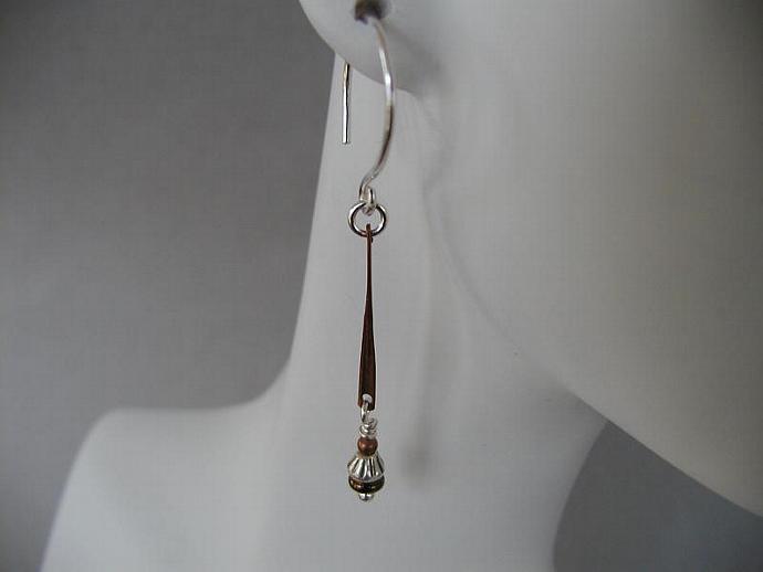 Silver/Copper/Glass Earrings