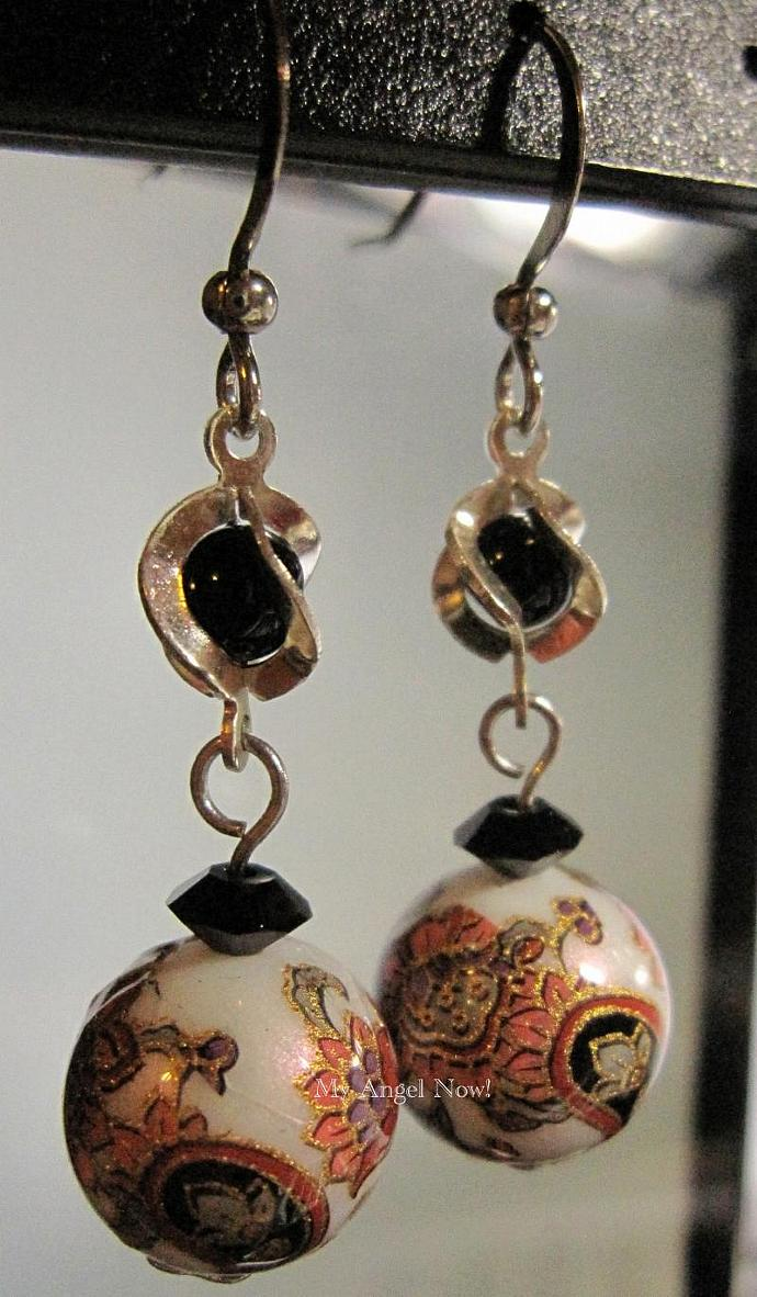 *SOLD* Black cage with Swarovski Crystal and Japanese Tensha Earring