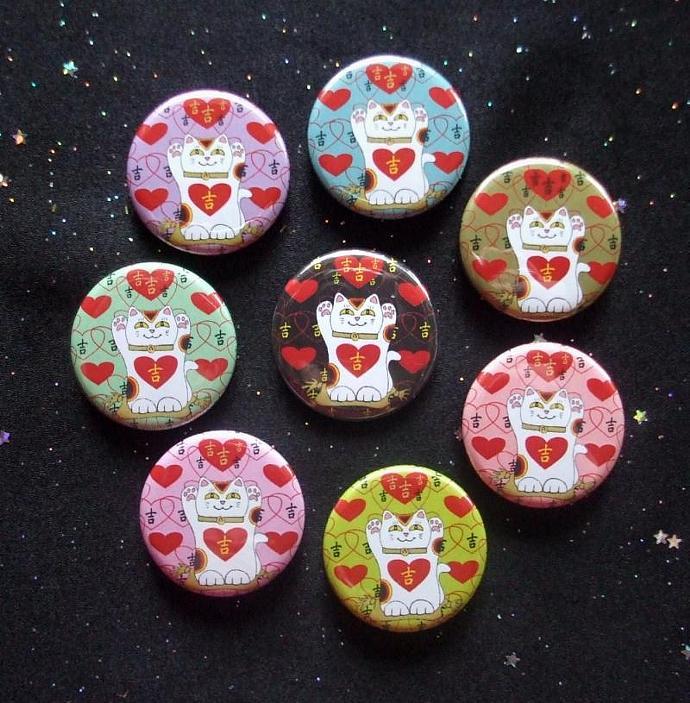 """Maneki Neko Japanese Lucky Cats I Heart Being Lucky 1.25"""" MAGNETS Set of 8"""