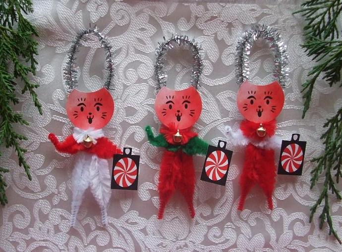 Peppermint Maneki Neko Christmas Cats Chenille Ornaments Set of 3