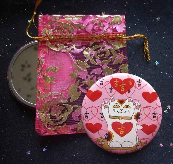 Maneki Neko I Heart Being Lucky Cat in Pink Pocket Mirror