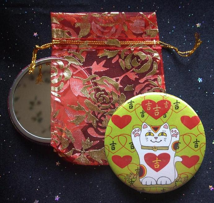 Maneki Neko I Heart Being Lucky Cat in Lime Green Pocket Mirror