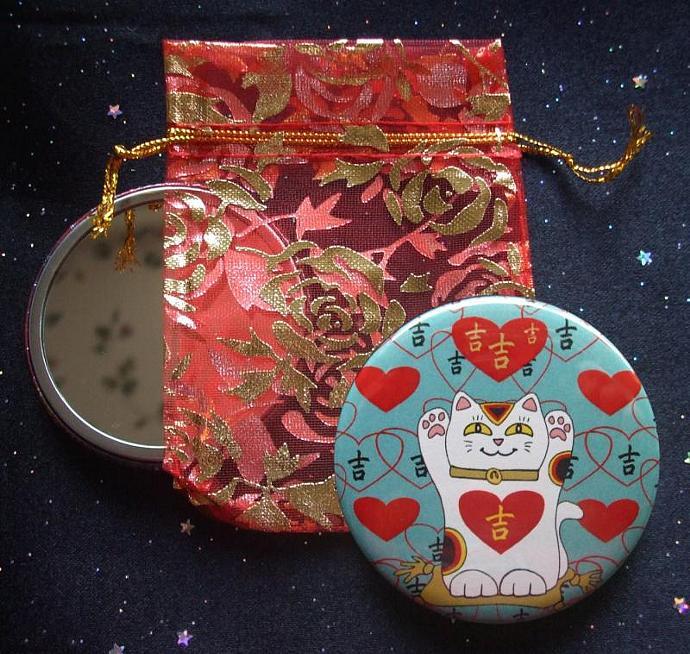 Maneki Neko I Heart Being Lucky Cat in Teal Pocket Mirror