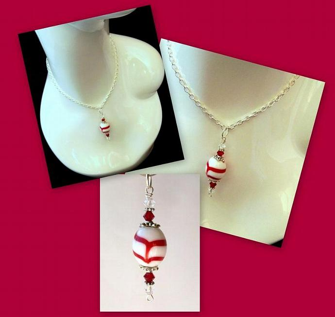 "Necklace Pendant -  ""Red & White Swirl"""