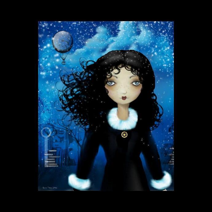 Steampunk Art Print -- Steampunk Winter Flight -- 8x10 -- Goth Girl Art
