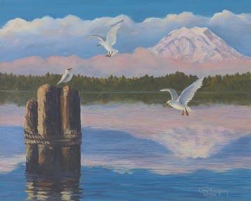 """Harbor Gulls"" Giclee Paper Print by Carol Thompson"