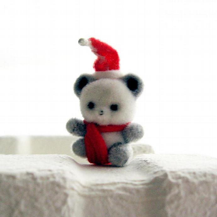Vintage Stick Pin Brooch Christmas Bear with Santa Hat