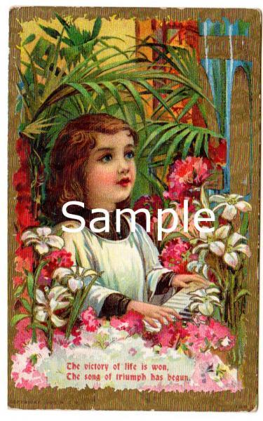 Digital Scan Antique Easter Postcard Choir Boy, Piano, Lily, Pink Flowers 1910s