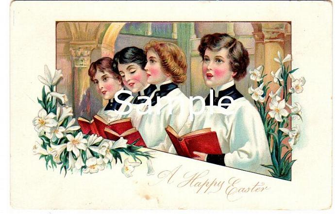 Digital Scan Antique Easter Postcard Choir Boy Girl Singing