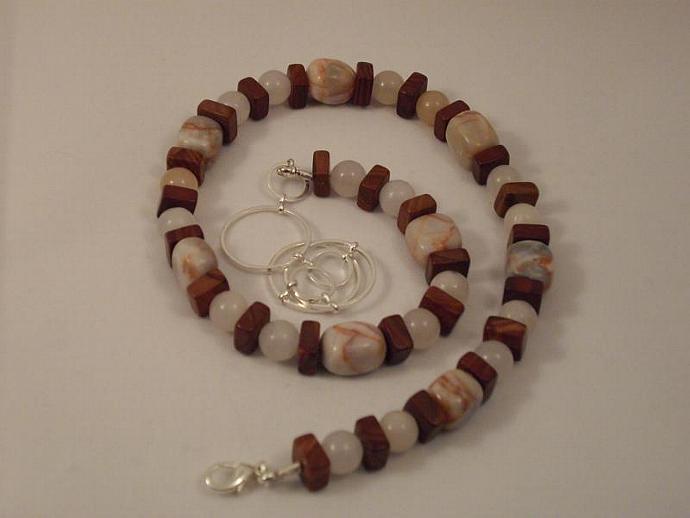 Pink Aventurine, Redline Marble and Red Jasper Necklace
